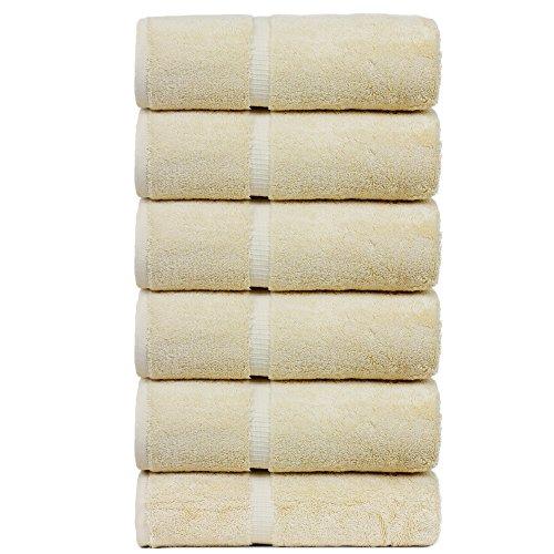 Luxury Hotel & Spa Towel Turkish Cotton Hand Towels - Beige - Dobby Border - Set of ()