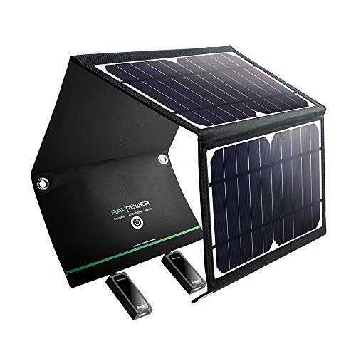 RAVPower Solar Charger 16W Solar Panel with Dual USB Port Waterproof Foldable (Certified Refurbished) by RAVPower