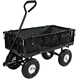 Sunnydaze Black Utility Cart with Folding Sides and Liner Set, 34 Inches Long x 18 Inches Wide, 400 Pound Weight Capacity