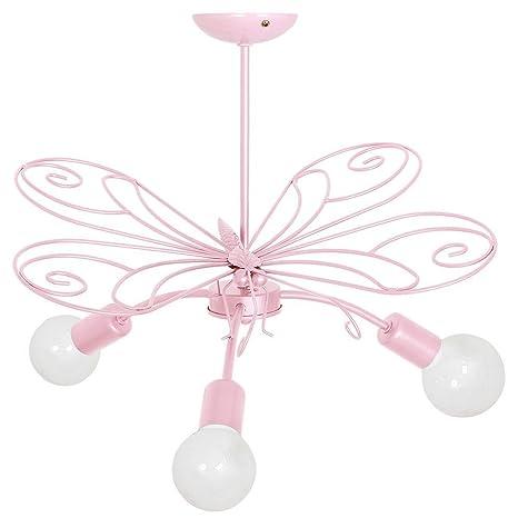 Mariposa plafón (b58 cm, l58 cm, para niños, en rosa, de 3 ...
