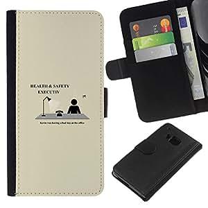 All Phone Most Case / Oferta Especial Cáscara Funda de cuero Monedero Cubierta de proteccion Caso / Wallet Case for HTC One M7 // Health & Safety Executive - Funny