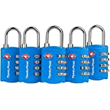 5 Pack TSA Luggage Locks with 4 Digit Combination – Heavy Duty Set Your Own Padlocks for Travel, Baggage, Suitcases & Backpacks - Blue