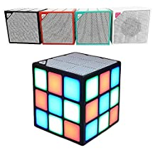 Efanr Rubik's Cube Wireless Speaker Portable Outdoor Mini LED Magic Bluetooth Audio Multifunction Smart Speaker for Phone Tablet PC Car, Support TF Card Play (White)