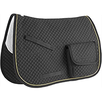 Derby Originals English AP Quilted Saddle Pads with Pockets, Black