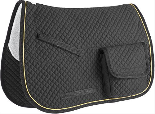 Derby Originals All Purpose Half Fleece-Lined English Saddle Pad with Velcro Close Pockets, Black Black Dressage Saddle Pads