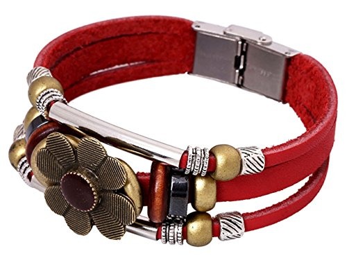 Konalla Vintage Flower Shaped Beaded Leather Wristband Multilayer Bracelet, Red ()