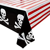 Juvale 3-Pack Pirate Skull and Crossbones Plastic Tablecloths - Table Covers for Kids Birthday Party Supplies and Decorations, 54 x 108 inches