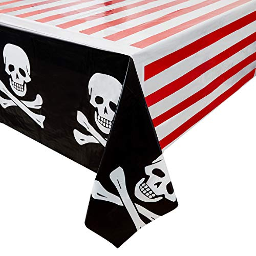 Juvale 3-Pack Pirate Skull and Crossbones Plastic Tablecloths - Table Covers for Kids Birthday Party Supplies and Decorations, 54 x 108 inches]()