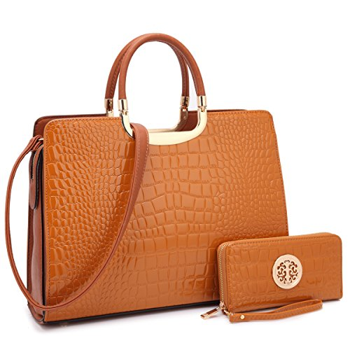 - Dasein Designer Purse Stripes Satchel Handbag PU Leather Purse Top Handle Handbags (4-croco brown wallet set)