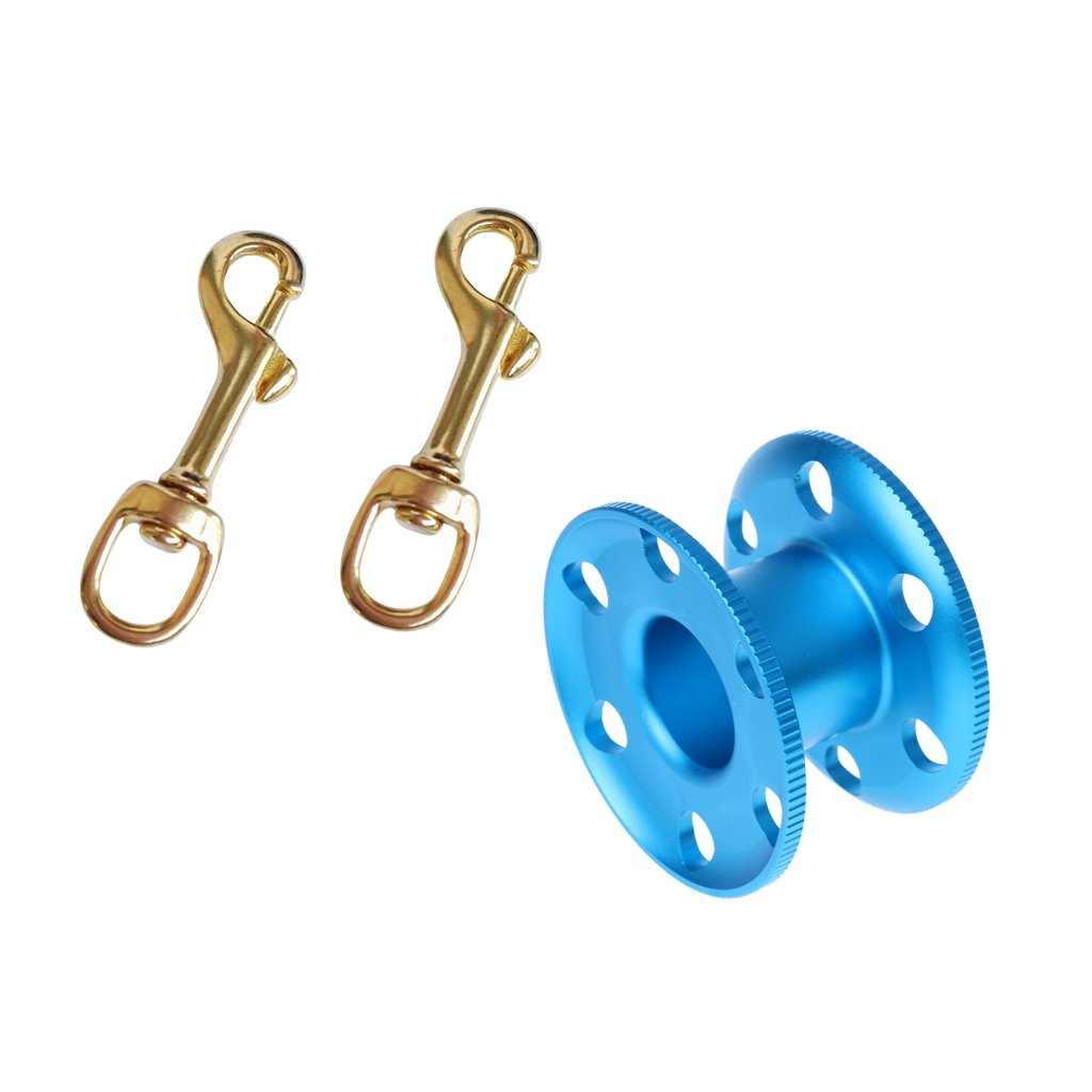 MonkeyJack 2 Pieces Single Ended Brass Swivel Eye Bolt Snap Hook Clip with Empty Aluminum Alloy Finger Spool for Scuba Diving Snorkeling