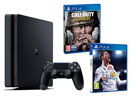 PS4 Slim 500Gb Negra Playstation 4 Consola - Pack 2 Juegos - FIFA 18 + Call of Duty WW2: Amazon.es: Videojuegos