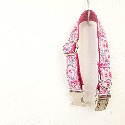 Hoysplendor-UNIQUE DESINGED,ALLOY FASTENER, PET COLLAR - flower,PINK LOVER,Adjustable Collars for Dogs.neck 12''-26'' (L)