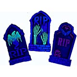 """Set of 3 16"""" Asst. Halloween Foam Tombstones, Black Light Props, Haunted House or Yard Decorations and Lawn Accessories"""