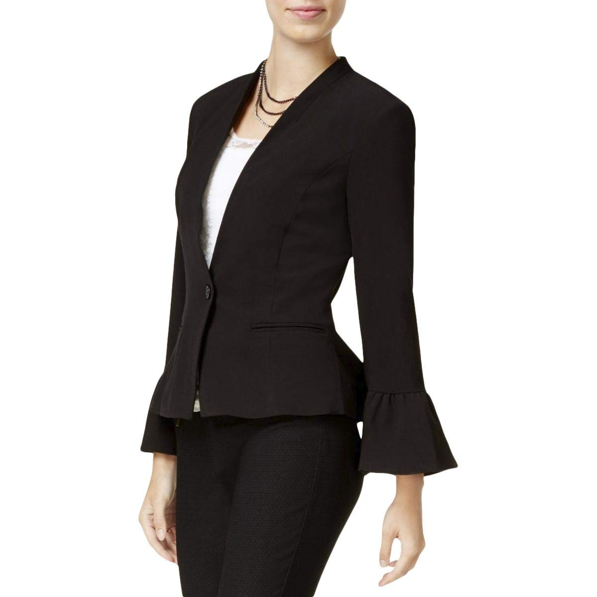 XOXO Womens Juniors Peplum Bell Sleeves One-Button Blazer Black S
