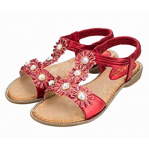 Élastique Sandales Pour Le Vacances Bazhahei Shopping Plage slip Bohême 36 Femme slip Tournesol Sauvages Mode Plat 42 Cristal Non Chaussures Rouge Occasionnel xaqXZPq