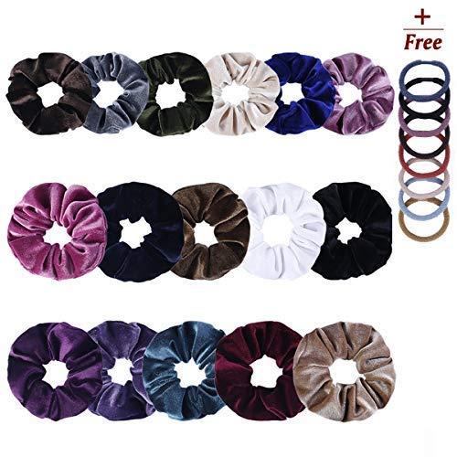 16 Packs Big Velvet Hair Scrunchies - Elastic Scrunchies Hair Bands Ponytail Holder For Women Or Girl,Soft Bobbles Hair Ties