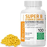 Bronson Vitamin B Complex Sustained Slow Release (Vitamin B1, B2, B3, B6, B9 - Folic Acid, B12), 100 Tablets