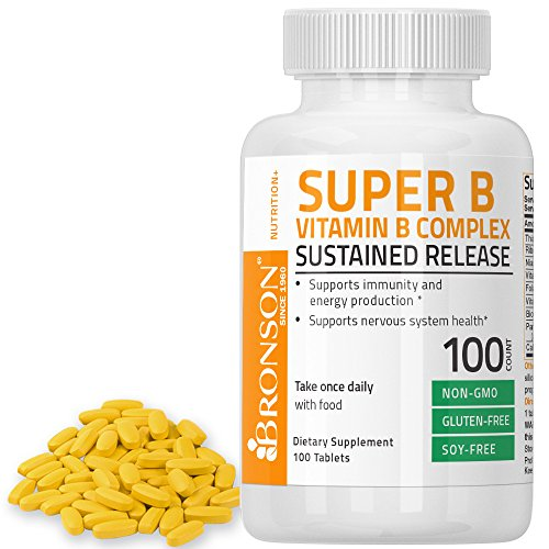 Bronson Labs: Super Vitamin B Complex Sustained Slow Release (Vitamin B2, B3, B6, B9 – Folic Acid, B12)