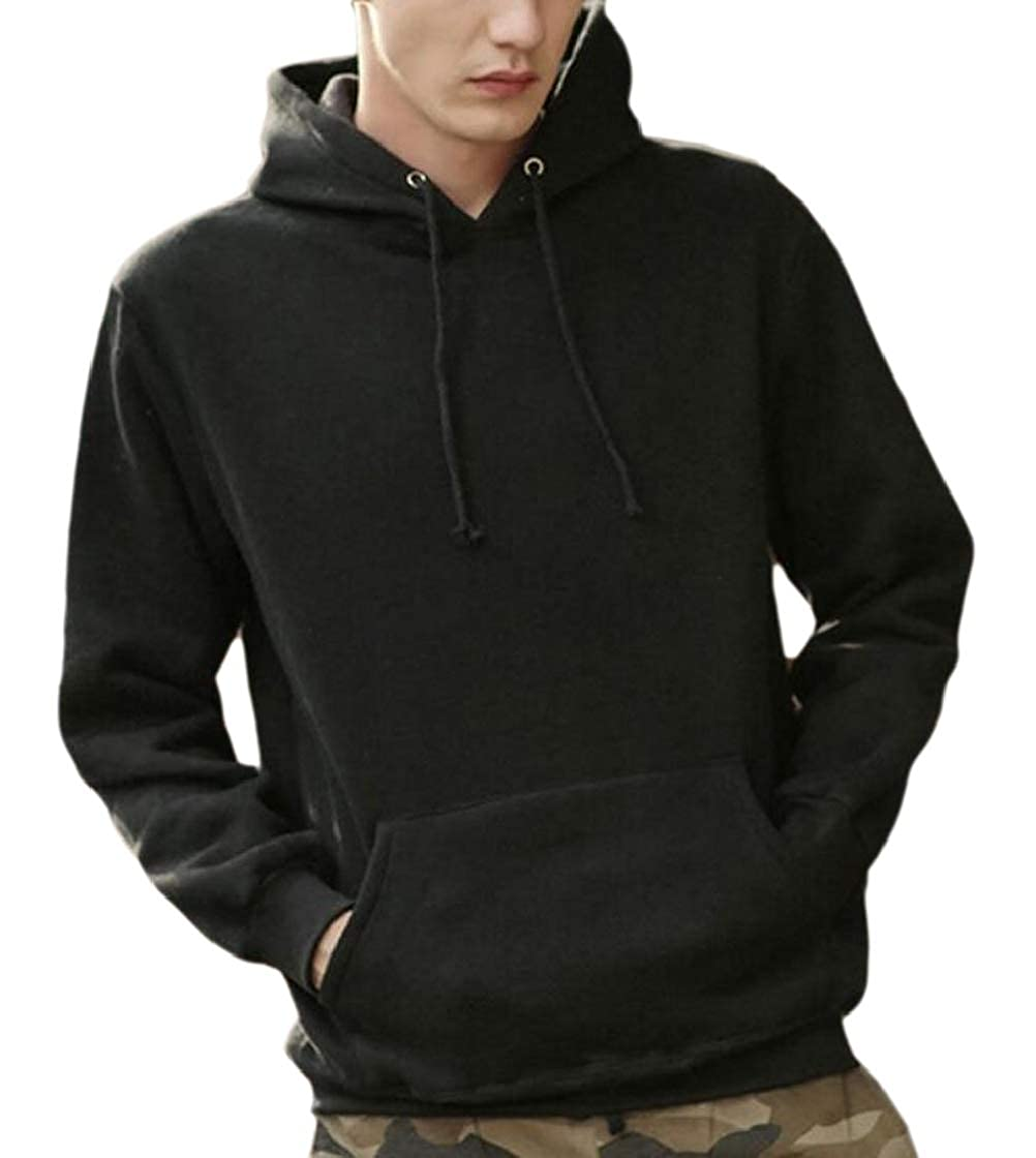 M/&S/&W Mens Plus Velvet Thickening Solid Colored Relaxed Fit Comfort Sweatshirt