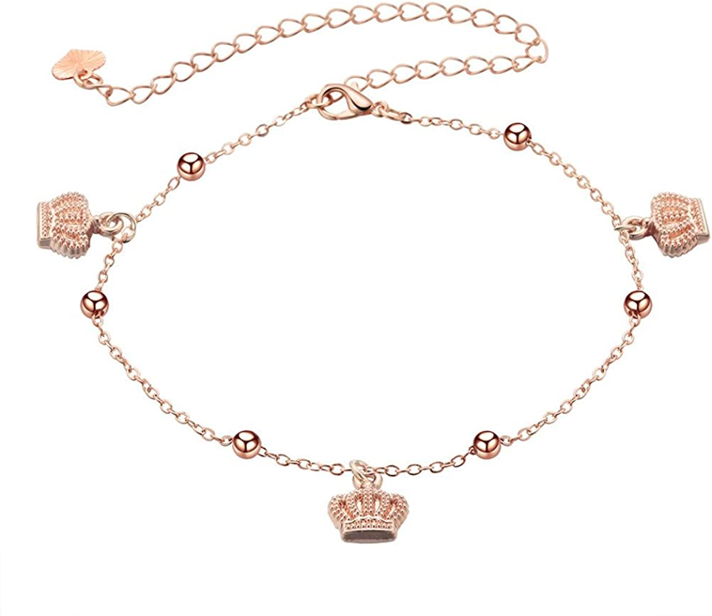 18K Gold Plated Rose gold Crown Charm With small balls Women adjustable anklet Bracelet,Lobster clasp