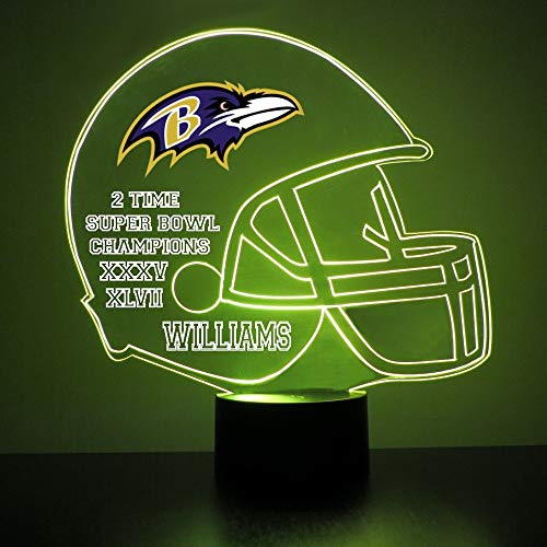 Mirror Magic Light Up LED Lamp - Football Helmet Night Light for Bedroom with Free Personalization - Features Licensed Decal and Remote (Baltimore - Ravens Light Baltimore Night