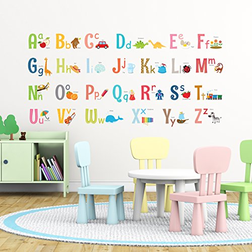 Decowall DA-1701 Uppercase Alphabet ABC with Pictures Kids Wall Decals Wall Stickers Peel and Stick Removable Wall Stickers for Kids Nursery Bedroom Living Room (Large)
