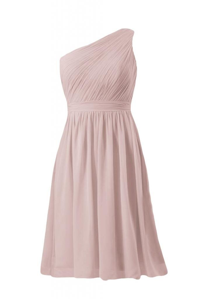 DaisyFormals Short Vintage Bridesmaid Dress One Shoulder Party Dress(BM10822S)- Dusty Rose