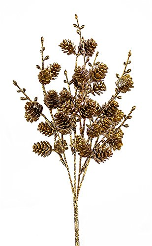 Diva At Home Club Pack of 12 Brown and Gold Colored Glitter Finish Artificial Mini Pine Cone Bushes 12'' by Diva At Home