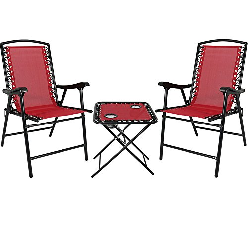 Sunnydaze Folding Suspension Outdoor Lounge Chair Set, 2 Lawn Chairs with Matching Side Table, Red