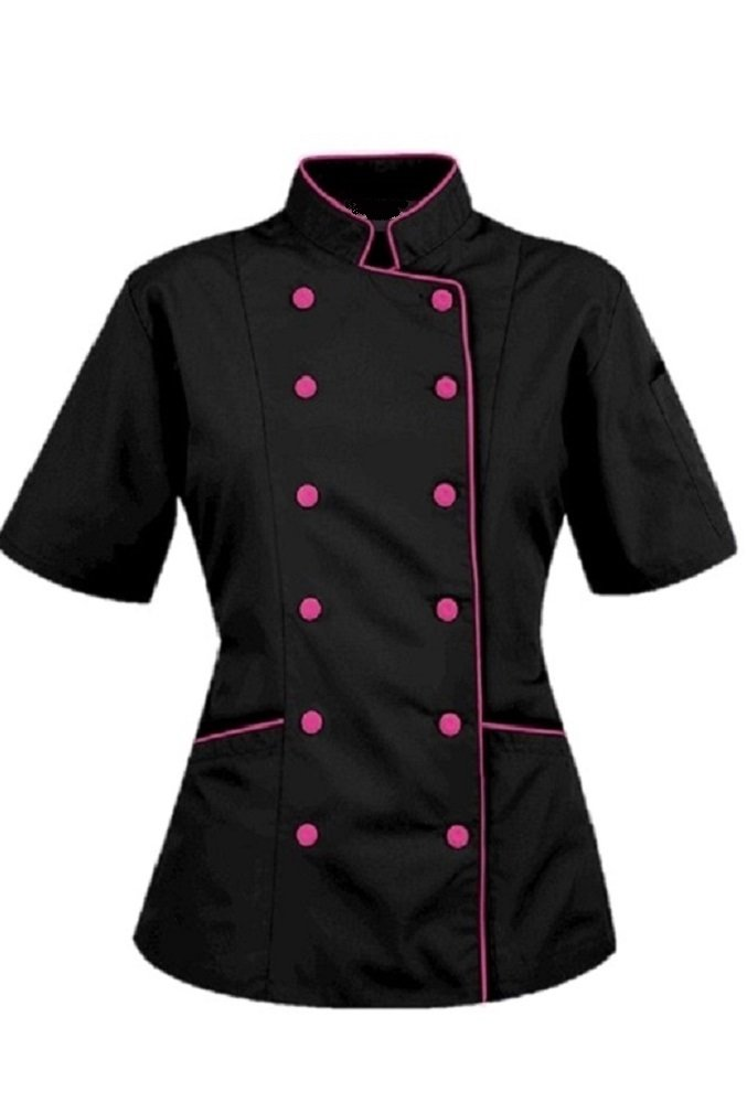 Chef Attires Short Sleeves Women's Ladies Chef's Coat Jackets by M (to Fit Bust 36-37), Black/Pink Trim