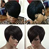 WOB Hair Glueless 150% Density Brazilian Human Hair Side Bang Short Bob Wig Haircut None Lace Wig 8inch 1#