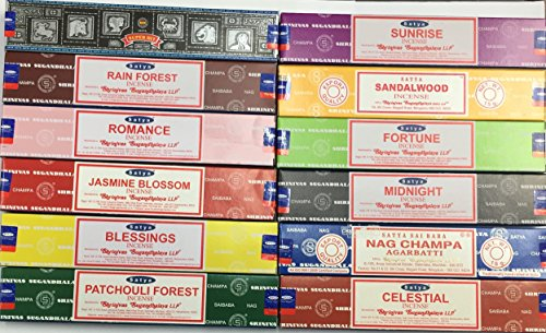 Satya Assorted Incense, 12 Boxes, 15 g each box