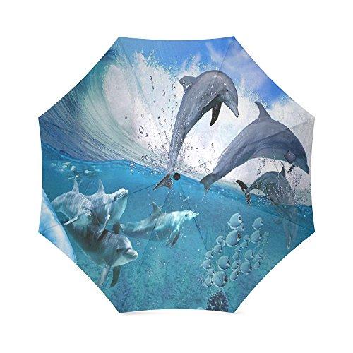 Dolphin Umbrella - Dolphin in Deep Blue Sea Customized Folding Windproof outdoor Travel Umbrella for Women