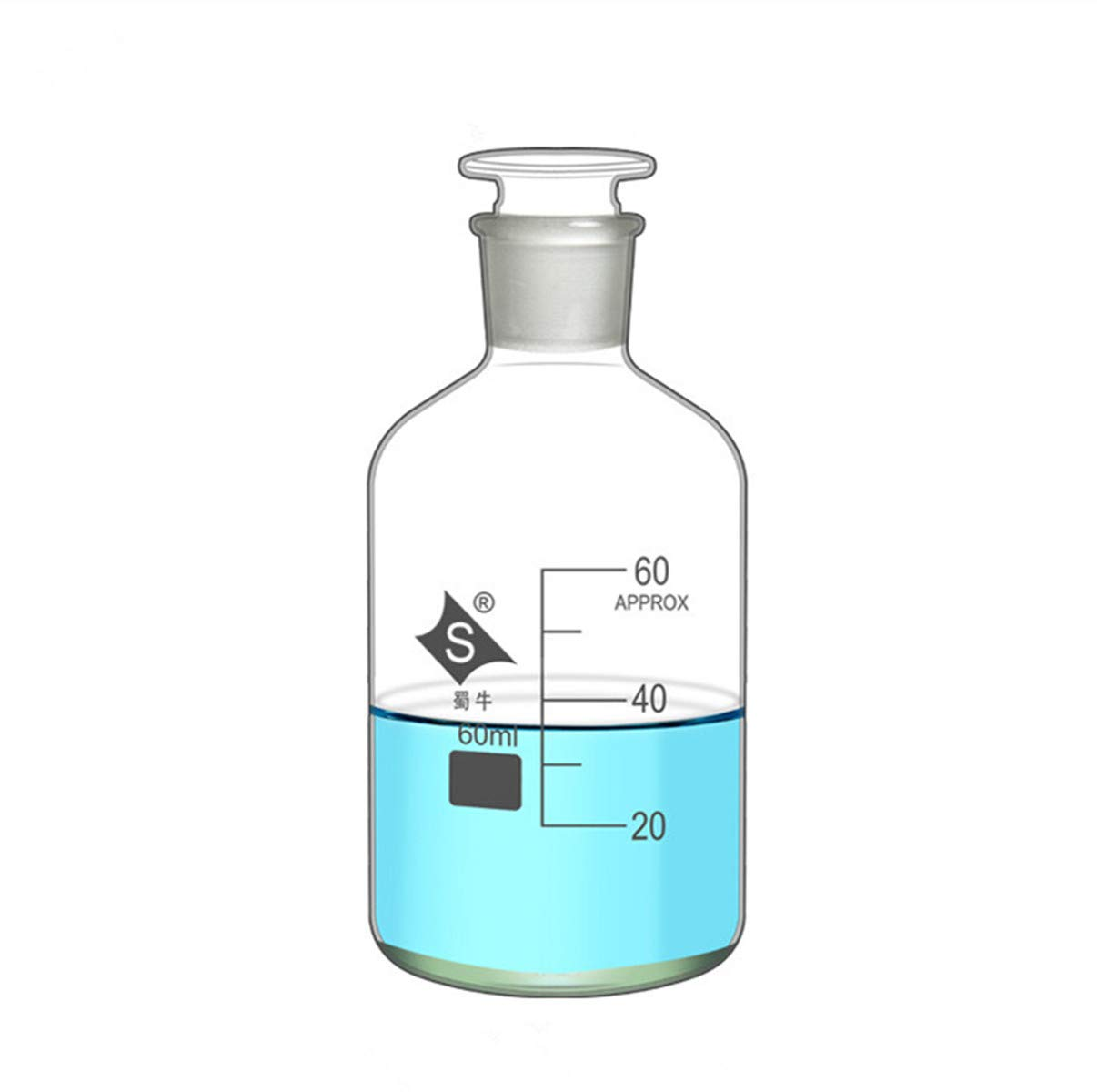 Lab Reagent Bottle 60ml Narrow Mouth Reagent Bottle with Ground Glass Clear Glass 60ml