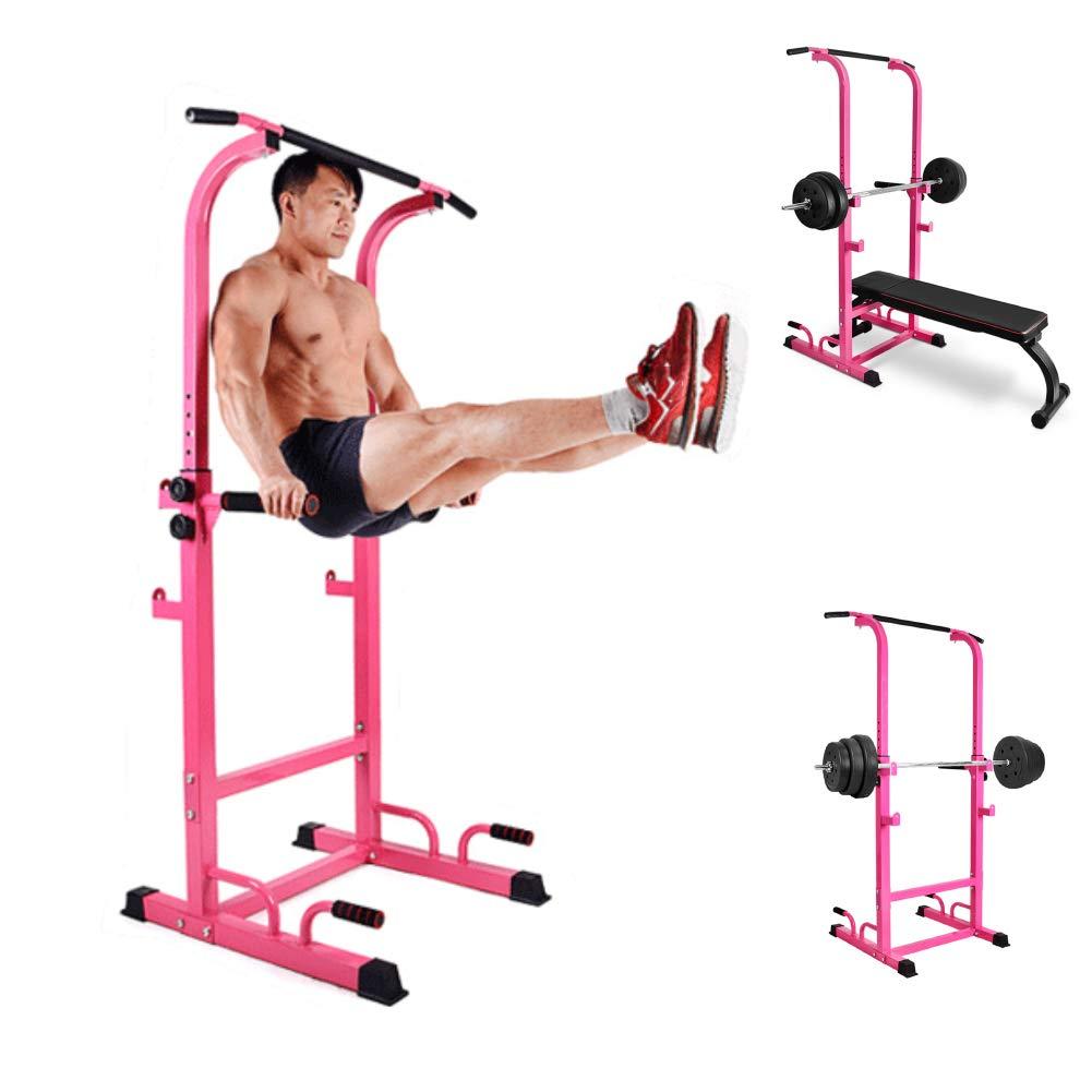 懸垂マシン 家の体力の強さの訓練の適性のために調節可能な力タワー150kgの耐荷重の高さ  Pink B07PW7G1BY