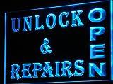 OPEN Unlock Repairs Shop Lock LED Sign Neon Light Sign Display i165-b(c)