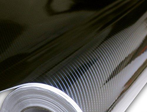 (Hachi Auto 6D High Gloss Black Large Pattern Carbon Fiber Vinyl Car Wrap 12-by-60 inch)