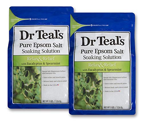 Dr. Teal's Epsom Salt Soaking Solution With Eucalyptus Spearmint, 48 Ounce, Pack of 2 (Best Epsom Salt For Athletes)