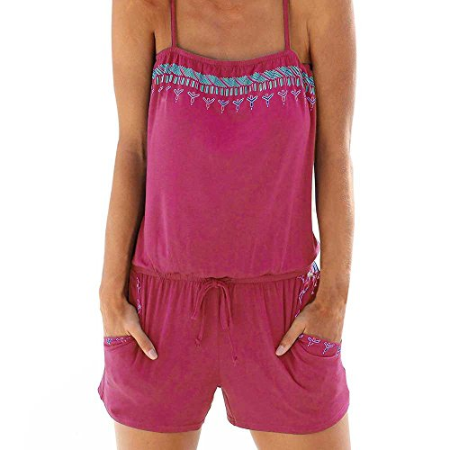 Womens Holiday Casual Mini Playsuit Jumpsuit Summer Beach Rompers Hot Pink ()