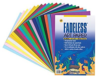 "Fadeless 0057530 Sulphite Acid-Free Art Paper, 50 lb., 12"" x 18' Size, Multiple Color, 0.1"" Height, 12"" Width, 18"" Length (Pack of 20)"