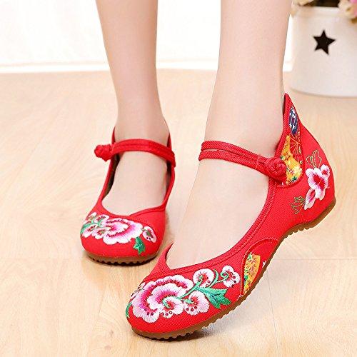 KHSKX-Otoño Zapatos Viejos Zapatos Zapatos Zapatos Bajos Folk Estilo Documental Rojo Baile Casual Zapatos De MujerLos Raptors De Toronto.Rojo