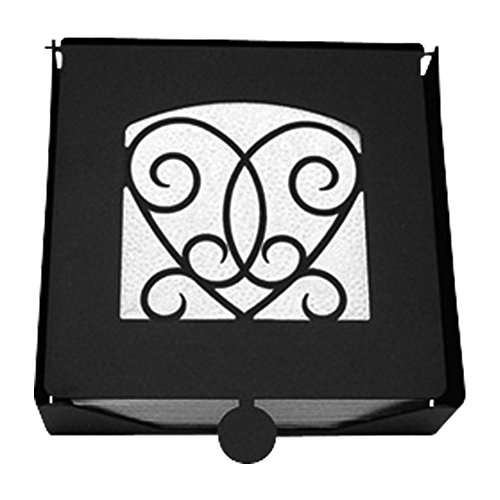 Iron 2-Piece Victorian Heart Flat Table Napkin Holder - Heavy Duty Metal Serviette Dispenser, Cocktail Napkin Holder Valentine / Love (Holder Heart Napkin Victorian)