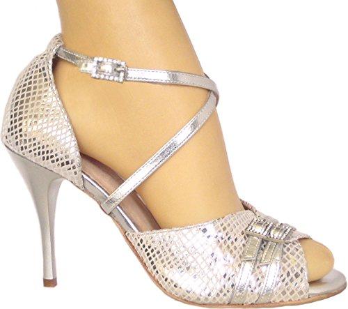 Vida Mia - Women's Adjustable Dance Shoes Sofia (Argentine Tango, Salsa, Latin) (7 USA) Silver (Best Argentine Tango Shoes)