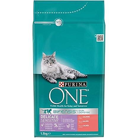 Purina ONE Bifensis Pienso para gatos con la Digestión Sensible Salmón y Cereales 1,5 Kg