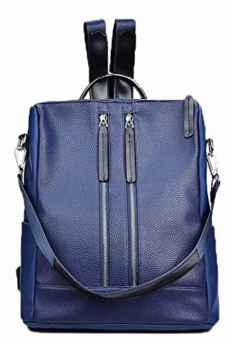 Daypacks AllhqFashion dos Bleu Sacs de Zippers Daypack Femme à Cuir Pu randonnée IxqO47