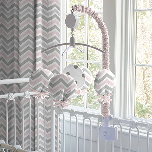 Carousel Designs Pink and Gray Chevron Mobile by Carousel Designs