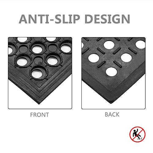 ROVSUN Rubber Floor Mat, 36''x60'' Anti-Fatigue/Non-Slip Drainage Mat, for Industrial Kitchen Restaurant Bar Bathroom, Indoor/Outdoor Cushion by ROVSUN (Image #2)