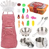 Kids Pretend Play Kitchen Set with Stainless Steel Cookware,Toy Pots Pans,Kids' Cooking Kits, Utensils, Chef Apron…