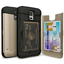 Galaxy S5 Case, TORU [S5 Wallet Case Gold] Protective Slim Fit Dual Layer Hidden Credit Card Holder ID Slot Card Case with Mirror for Samsung Galaxy S5 / S5 Neo - Gold