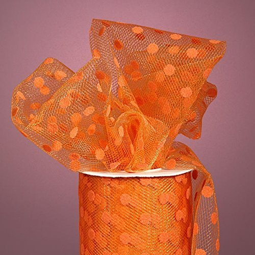 Shimmer, Sparkle, Glimmer, Metallic and Polka Dot Tulle Ribbon Rolls - 25 Yards - 6 Inches Wide (POLKA DOT - Orange) ()
